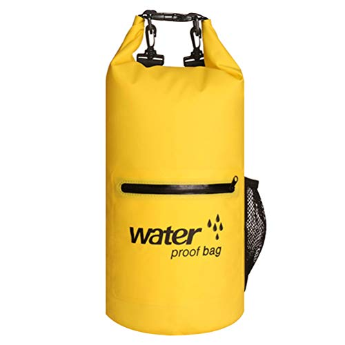 Abaodam Bolsa inflable de 10 l 500D impermeable PVC Gear Bags Flotante al aire libre Tela de malla deportiva boya para canotar, kayak, pesca, rafting, natación, camping, rescate (amarillo)