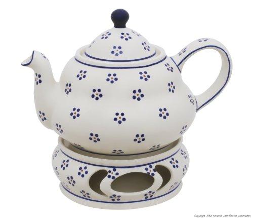 Original Bunzlauer Keramik Teekanne 1,5 Liter mit integriertem Sieb und Stövchen im Dekor 1