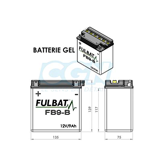 Fulbat - Batteria moto Gel FB9-B/ YB9-B/ 12N9-4B-1 12V 9Ah