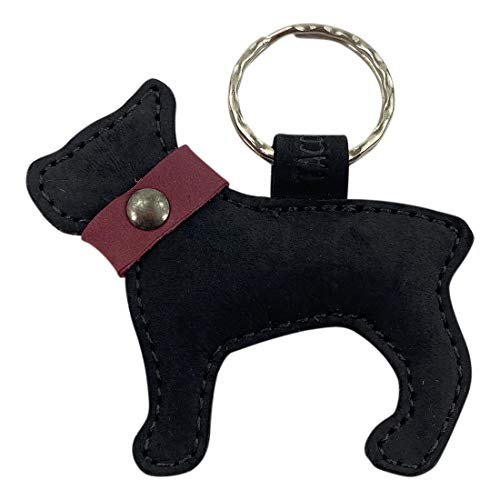 Taco Dog, French Bulldog Keychain Handmade from Full Grain Leather - Beautiful Rustic Look, Adorable Details - Functional,, Durable, Lightweight, All Natural - Great Gift - Charcoal Black