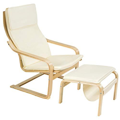 COSTWAY Relaxsessel mit Ottomane, Relaxstuhl mit Zeitungsständer, Armlehnensessel Kippschutz, Entspannungsstuhl aus Holz, Fernsehsessel inkl. abnembare Kissen (Beige)