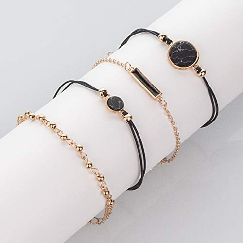 XQxiqi689sy - Pulsera para mujer, estilo bohemio, redonda, con piedra de estilo puño, pulsera con cordón y cadena, 4 unidades One Color