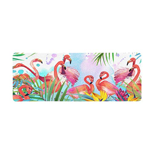 InterestPrint Soft Extra Extended Large Gaming Mouse Pad with Stitched Edges, Desk Pad Keyboard Mat, 31.5 x 12In - Tropical Exotic Flamingo Bird Leaves and Summer Flowers