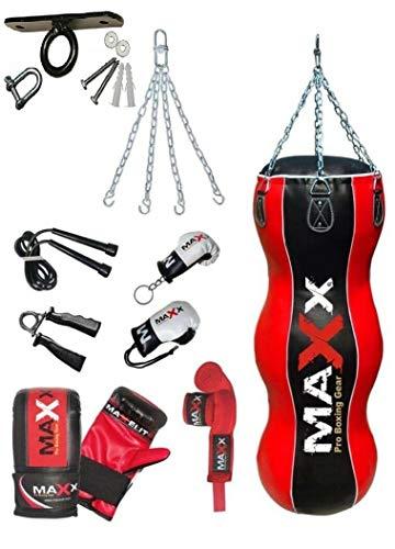 Maxx 4FT Triple BAG Black red body bag uppercut bag punch bag angled boxing bag punching bag set free chain 12PCs SET WITH CEILING HOOK