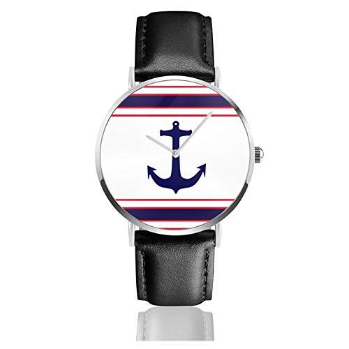 Reloj de cuero naranja playa náutico ancla azul marino rojo blanco coral unisex clásico casual moda reloj de cuarzo reloj de acero inoxidable con correa de cuero