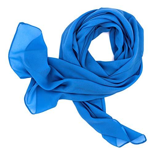 DOLCE ABBRACCIO by RiemTEX ® Schal Damen SWEET LOVE Stola Chiffon Tuch in 30 Unifarben Schals und Tücher Halstücher XXL Chiffontücher Halstuch in trendigem Blau für jede Jahreszeit (Blau)