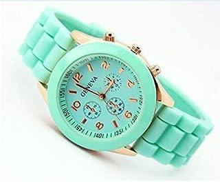 Ladies brand GENEVA Watch Classic Gel Crystal Silicone Jelly watch -green