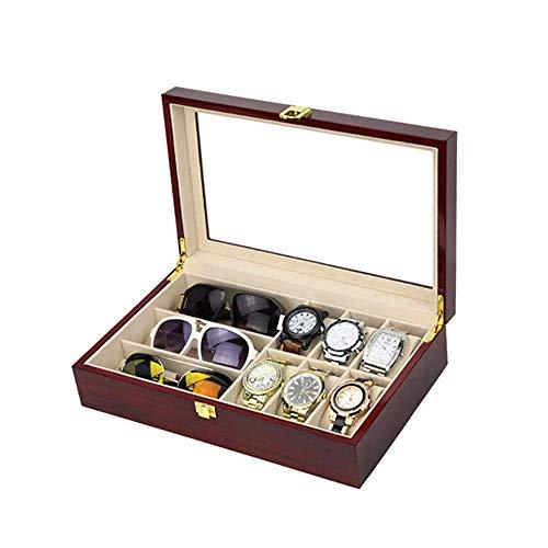 Elise juwelenkistje voor Hombre Mujer planken, meerdere rijen schilderijen, armband van hout, opbergdoos (kleur: Single Layer Ebony wit)