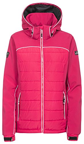 Trespass Evvy, Raspberry, XXL, Wasserdichte Skijacke mit abnehmbarer Kapuze & herausnehmbarem Schneefang für Damen, XX-Large / 2XL / 2X-Large, Rosa / Pink