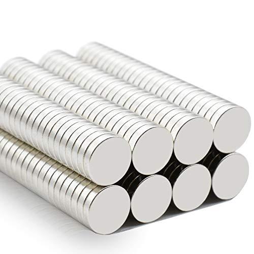 Versatile Kühlschrank Mini Magnete N52 Ultra Stark Runde Neodym-Magnete für Magnettafel, Whiteboard, Kühlschrank, Handwerk, Wissenschaft - Winzige Runde Scheibe, Silber, 5x1mm (0.2 inch), 100 Stück