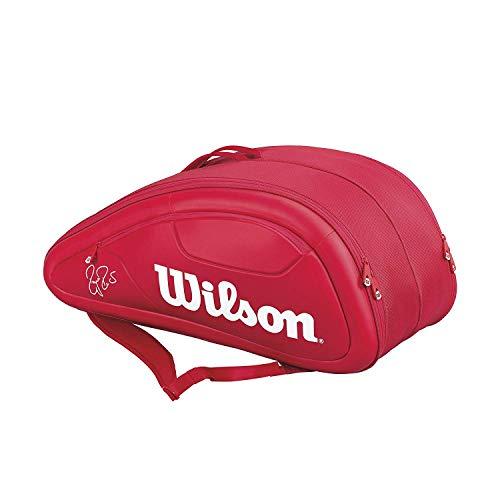 Wilson(ウイルソン) テニス バッグ バドミントン ラケットバッグ FEDERER DNA 12 PACK (フェデラーDNA 12パック) ラケット12本収納可能 WRZ830712 レッド ウィルソン