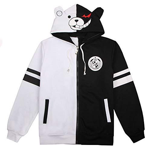 QQJL Sweatshirt Monokuma Cos Langarm Baumwollhemd Hoodie Cosplay Mantel schwarz und weiß Nähte Pullover kann sowohl für Männer als auch für Frauen getragen Werden-Thin-M