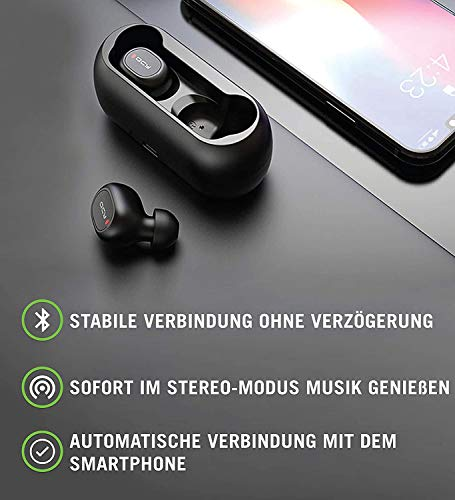 QCY T1 Bluetooth 5.0 Sport-Kopfhörer In-Ear, 20 Stunden Akkulaufzeit, Wireless kabellos für iPhone Android mit starkem Powerbank, IPX4 wasserdicht und Mikrofon Bild 3*
