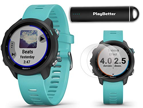 Garmin Forerunner 245 Music (Aqua) Running GPS Watch Power Bundle | +HD Screen Protectors & PlayBetter Portable Charger | Music & Spotify, Advanced Analytics, Heart Rate, PulseOx 2019 010-02120-22