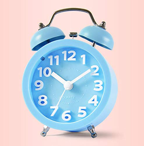 XNZ Twin Bell Alarm Clock for Heavy Sleepers, Loud Old Fashioned Retro Alarm Clock Battery Operated with Night Light, Mute and Non Ticking, Alarm Face Light