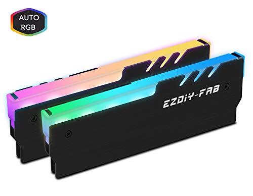 EZDIY-FAB RGB DDR Memoria RAM Refrigerador Enfriador Disipador de Radiación Enfriador para Juego DIY PC Overclocking Mod DDR3 DDR4 Negro-2pack