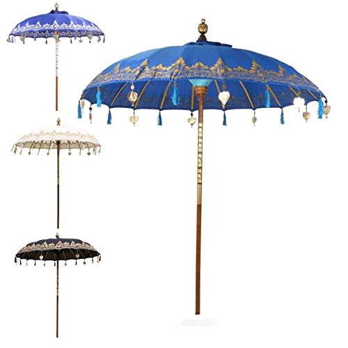 Oriental Galerie Bali Sonnenschirm Balinesischer Garten Schirm Baumwolle Sonnenschutz Handarbeit Retro Vintage Dekoschirm 2-teilig ca.180 cm Einfache Bemalung, Design:Nr. 8