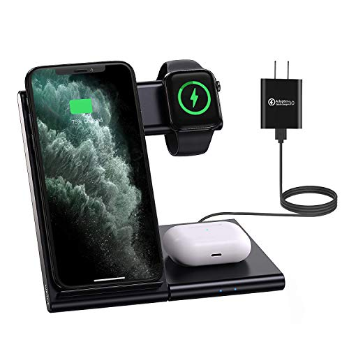 Wireless Charger, 3 in 1 Qi-Certified 10W Fast Charging Station for Apple Watch Series 6/SE/5/4/3/2/1,AirPods Pro/2, Charging Dock Stand Compatible with iPhone 11/Pro/XS MAX/XR/XS/X/8/8 Plus/SE