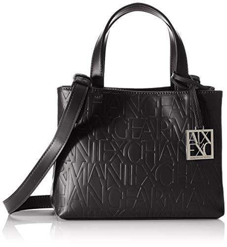 Armani Exchange Damen Liz - Small Open Shopping Tote Schwarz (Nero - Black)