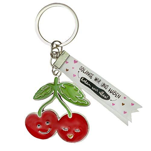 De Geschenkewelt Happy Life 46275 sleutelhanger met kersenmotief, bedrukte zijden band hanger, meerkleurig, lengte 8,5 cm, breedte 4,5 cm
