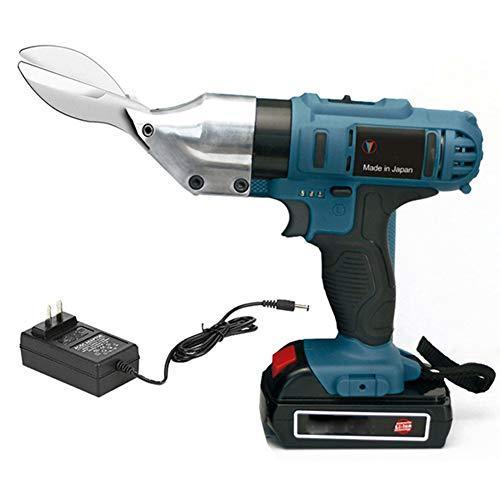 21V portátil de tijera eléctrica, Hoja Clippers alambre de púas/acero inoxidable/cortador del metal del color Tijeras Acero para cortar azulejos,A