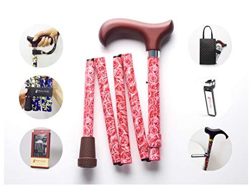 Merry Sticks, bastón Plegable Ajustable de diseño, Rosas, Incluye una práctica Bolsa para su bastón y un Soporte para Bastones Reflectante Inteligente