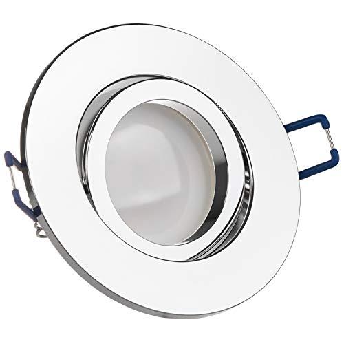 LEDANDO LED Spanndecken Einbaustrahler Set Chrom 5W DIMMBAR GU10 Deckenstrahler - Spots - Deckspot - 230