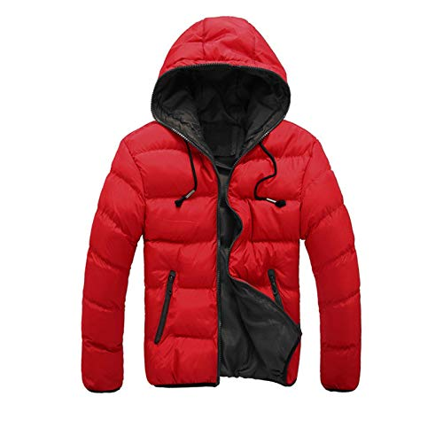 Men's Winter Casual Color Collision Zipper Pockets Cotton-Padded Hooded Jacket Coat Block Quilted Puffer Outerwear Red