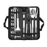 Juego de 20 herramientas de barbacoa de acero inoxidable, utensilios de barbacoa profesionales, kit de accesorios para barbacoa al aire libre