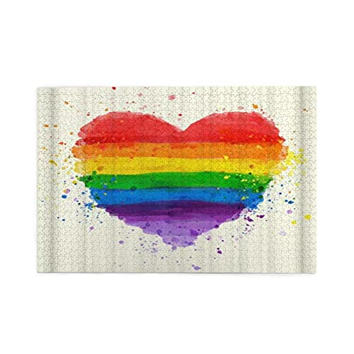 Jigsaw Puzzles For Adults 1000 Colorful Rainbow Love Heart Painting Pattern Wooden Puzzle Games Family Fun