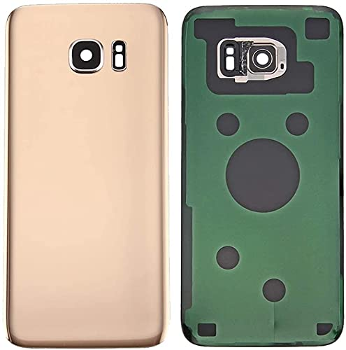 KIT 3 Pezzi Copri Batteria + biadesivo + lente compatibile per Samsung Galaxy S7 Edge G935F G935 Ricambio Vetro Posteriore Back Cover Retro Scocca adesivo + lente con cornice (Gold oro)