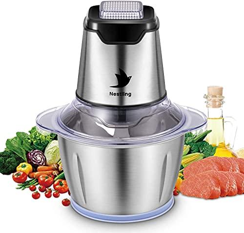 Nestling Broyeur d aliments électrique 600W, Hachoir à légumbot culinaire Broyeur à 4 lames tranchantes pour viande, Fruits et Noix avec 1.2L Bol en acier inoxydable de qualité alimentaire