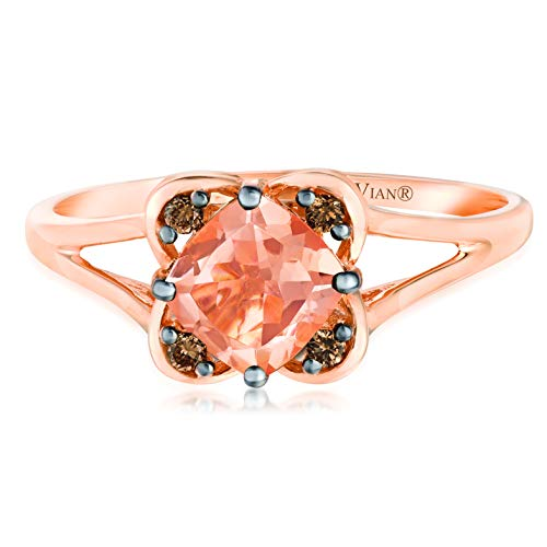 LeVian 14K Rose Gold 5/8 Ct Cushion-Cut Peach Morganite & Chocolate Diamond Split Shank Ring (Brown Color, SI1-SI2 Clarity) -Size 6-3/4
