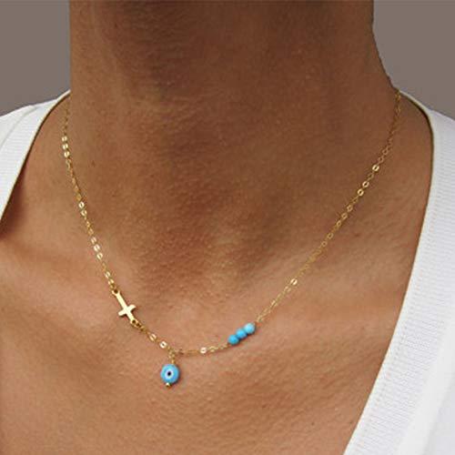 Sttiafay - Collana con ciondolo a forma di occhio malvagio, con ciondolo a forma di croce, con perle turchesi, per donne e ragazze