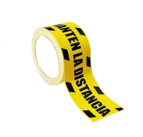 Rollo de vinilos Adhesivos para Suelo | Vinilo Antideslizante 7,2cmX25 Metros largo con el Texto: Manten LA Distancia DE Seguridad 1 unidad.