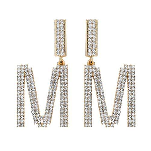 luosh Earring Studs Alphabet Crystal Bridal Drop Dangle Earrings Long Dangle Earrings