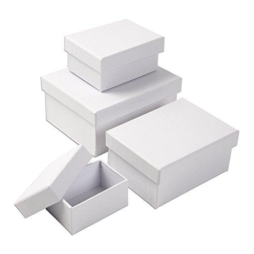 Creativ 264050 Coffrets Cadeaux Rectangulaires Polyvalents, Blanc, 4 Tailles Assorties: 7,5 x 5 x 3,5 cm, taille: 9,5 x 7 x 4,5 cm, taille: 11,5 x 8 , 5 x 5,5 cm, Taille: 14 x 11 x 6,5 cm