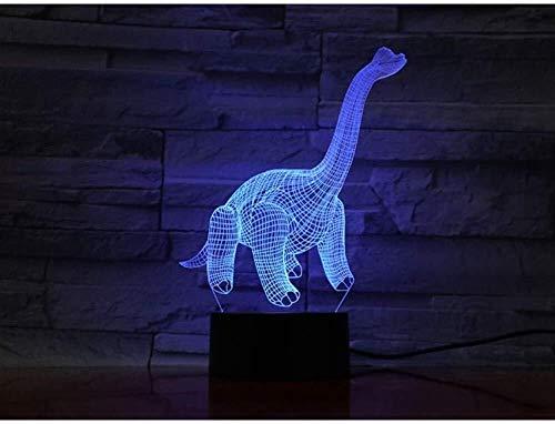 3D Illusion LED Tyrannosaurus Rex lampe capteur tactile multi-couleur Chambre chevet Bureau Lampe décorative Enfants Cadeaux Fête anniversaire de charge USB lumière de nuit