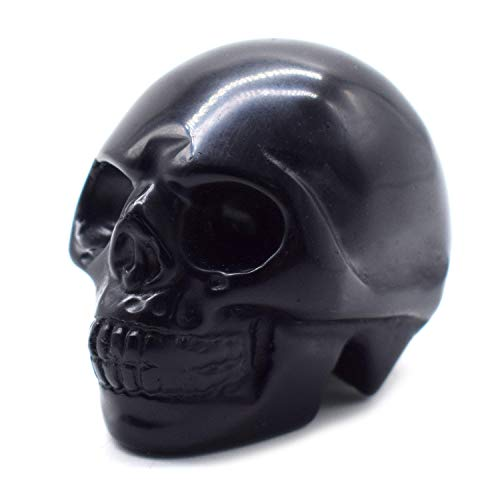 2.0' Black Obsidian Healing Crystal Stone Human Reiki Skull Figurine Statue Sculptures