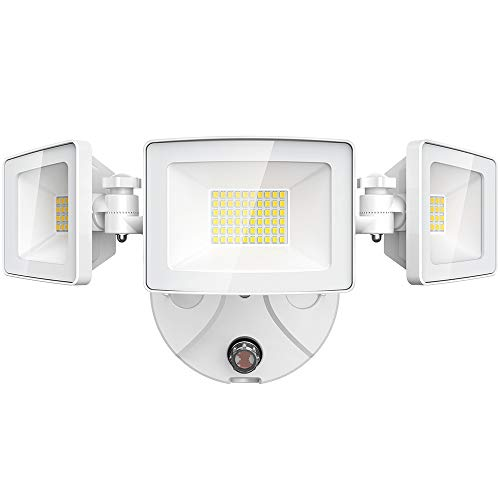 Olafus 50W LED Security Light Dusk to Dawn Outdoor, 3 Heads 5000LM Photocell Outside Flood Lights, IP65 Waterproof Exterior Lighting, 5000K White LED Light for Yard, Garden, Porch, Backyard