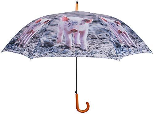 Esschert Design Regenschirm Schwein Bauernhof 2 Personen Stockschirm Groß Ø 120 cm