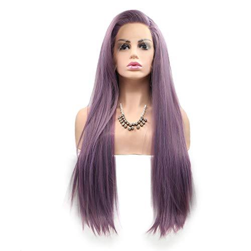 YBINGA Peluca de encaje frontal de fibra sintética de media mano de ganchillo largo pelo morado de fibra de alta temperatura para mujeres peluca delantera de encaje (color 20 pulgadas)