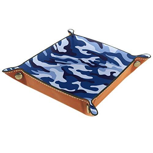 LynnsGraceland Bandeja de Cuero - Organizador - Camuflaje Azul Militar - Práctica Caja de Almacenamiento para Carteras,Relojes,Llaves,Monedas,Teléfonos Celulares y Equipos de Oficina