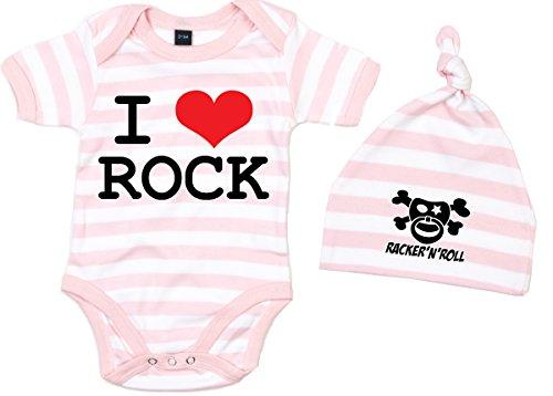 Racker-n-Roll I Love Rock Body + Bonnet Set Baby Body rayé Rose/Blanc - -