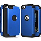 iPod Touch 7th Generation Case with 2 Screen Protector, IDweel Heavy Duty High Impact Armor Shockproof Case Cover Protective Case for Apple iPod Touch 5/6/7th Generation, Bright Blue+Black