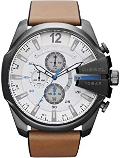 Diesel Men's White Dial Leather Band Watch - DI-DZ4280