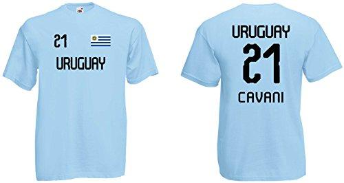 Uruguay Herren T-Shirt im Cavani 21 Trikot Look WM 2018hellblau-L
