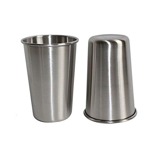 Abimars Edelstahl-Becher - Edelstahl-Trinkbecher Premium für Camping Stapelbare Becher Metall Tassen Lebensmittelechter 12 Unzen/ 350ml 2er Pack