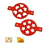 2 Pack Pancake mold makers, Kitchen Nonstick Silicone Baking Mold Heart and Star Shaped Egg Muffin Pancake Mould
