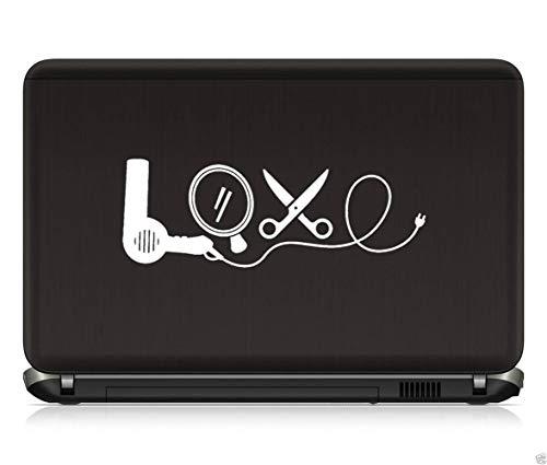 Autosticker, autostickers, föhn spiegel, schaar, kapper, salon, liefde, stickers, laptop, 20 cm